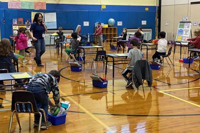 Quaker Ridge gym covid classroom