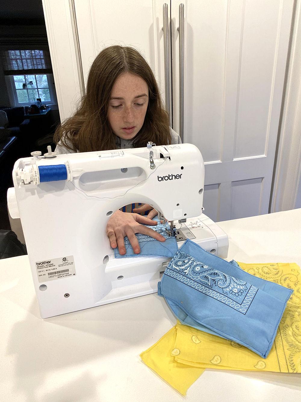Hayden Plattus masks sewing photo