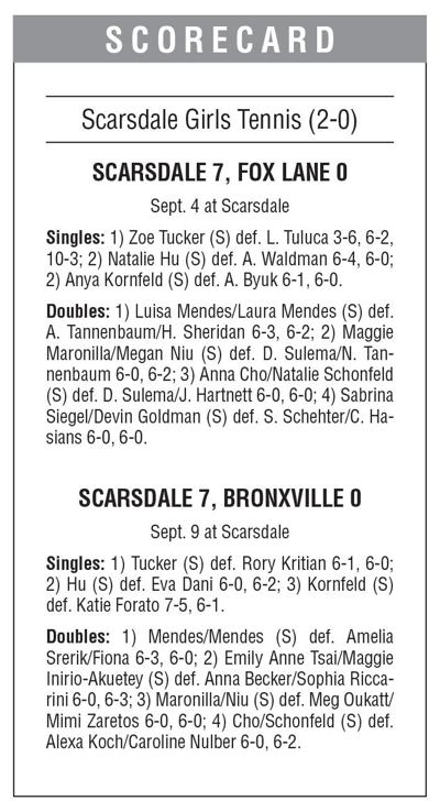 Scarsdale girls tennis boxscore 9/13 issue