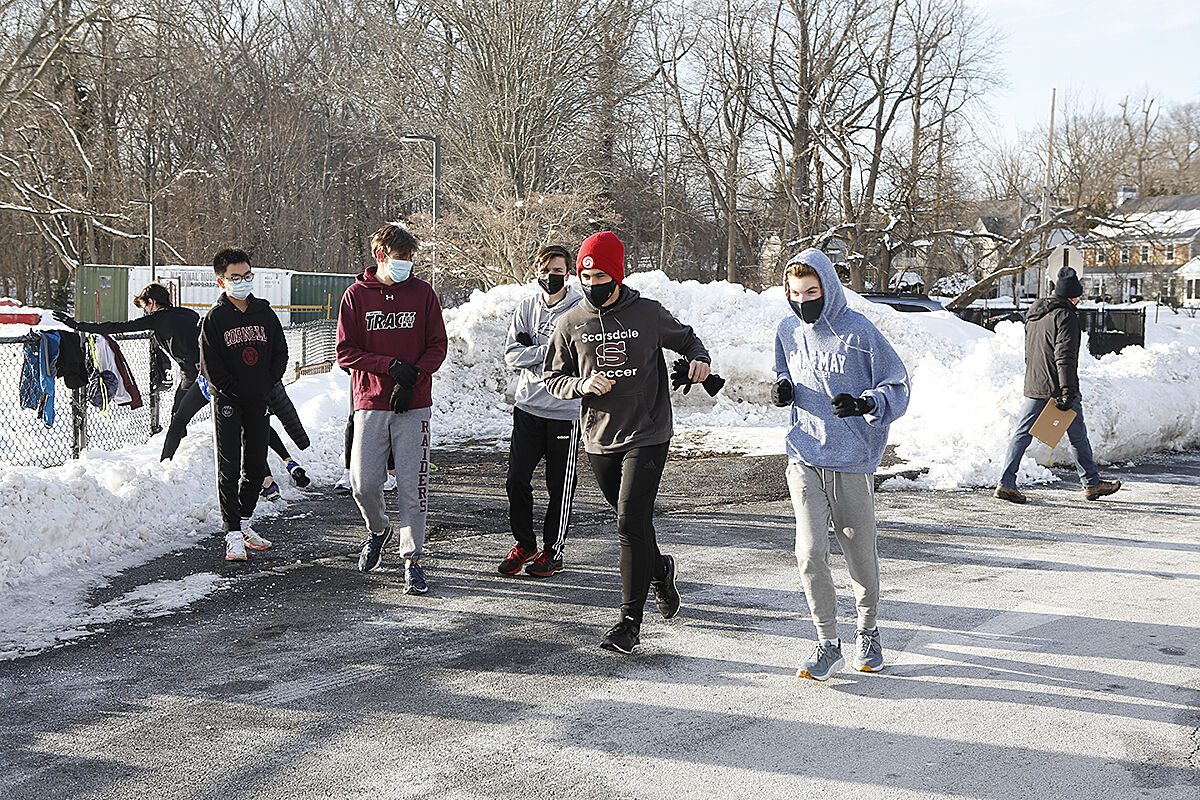Scarsdale track team snow