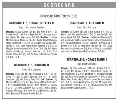 Scarsdale girls tennis boxscore 9/27 issue