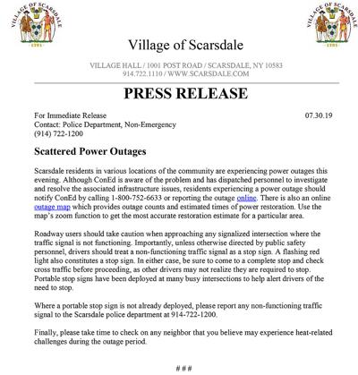 Power outage press release