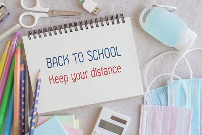 School Stationery Supplies, Medical Masks And Hand Gel Sanitizer, Keep Your Distance, School Reopeni