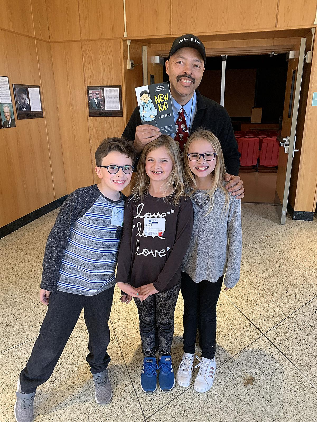 YWW_Michael Hayes, Elizabreth Parker and Madeline Trani with Jerry Craft.jpg