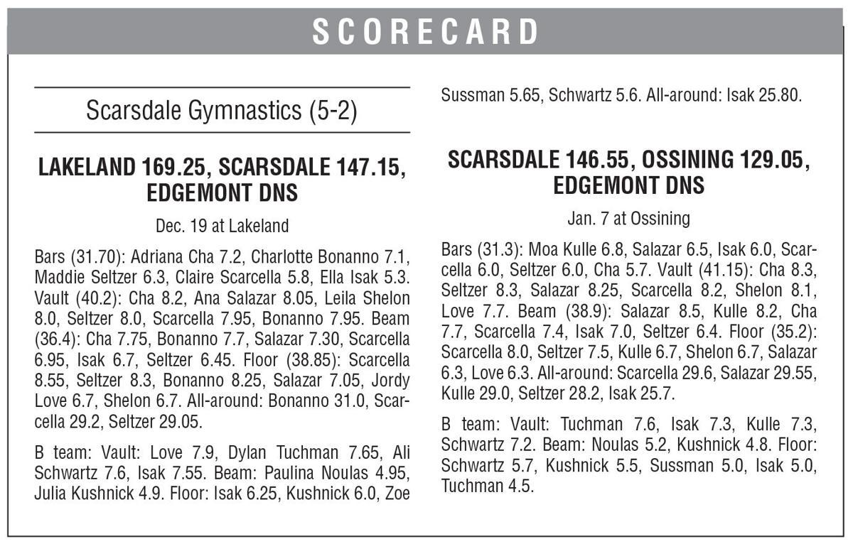 Scarsdale gymnastics boxscore 1/10 issue