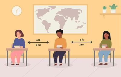 Social Distancing At School Concept Illustration.