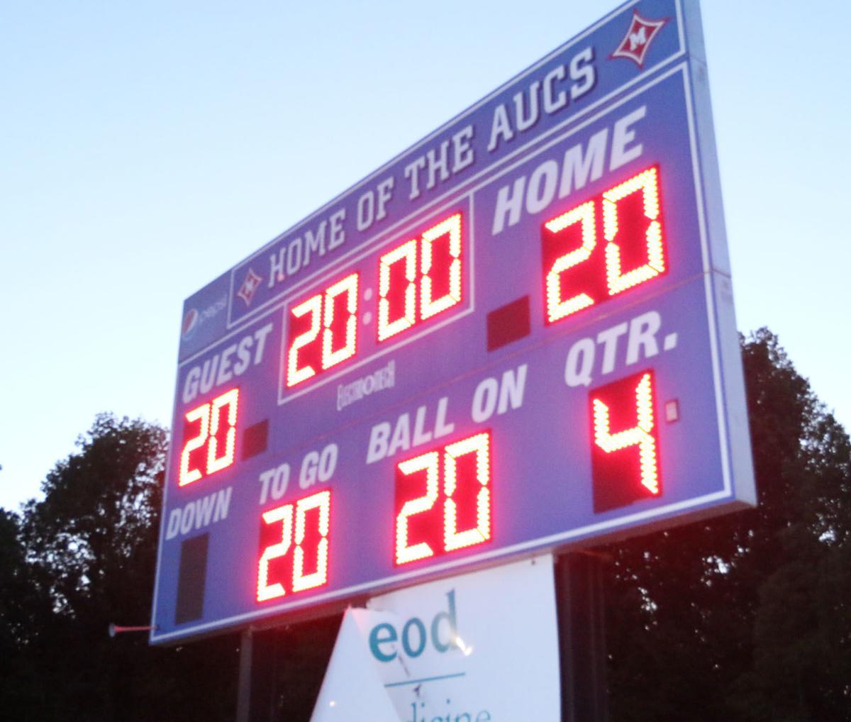 Mullins High School lights scoreboard to celebrate 2020 spring sport senior athletes