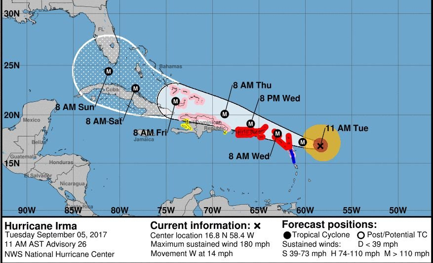 The National Weather Service In Wilmington N C Released This Graphic Of Hurricane Irma At Noon Edt Tuesday Sept 5 2017