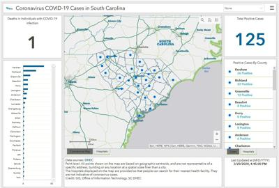 DHEC map coronavirus in SC