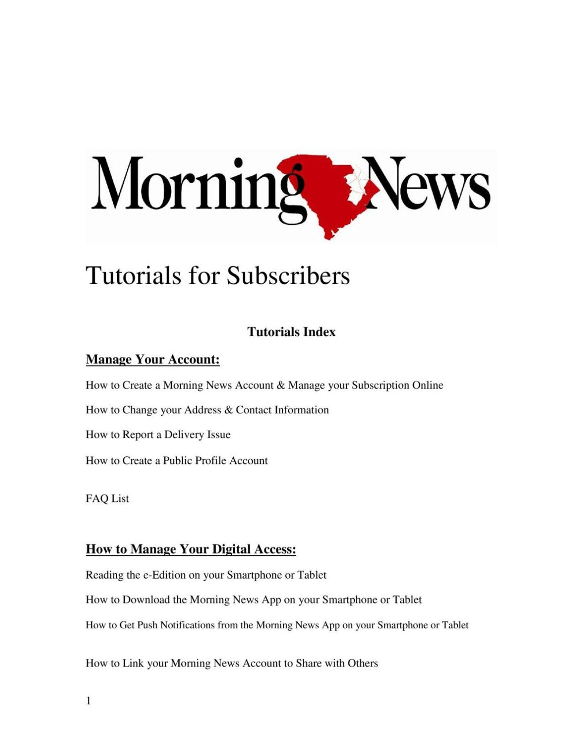 Morning News Readers Guide 2016