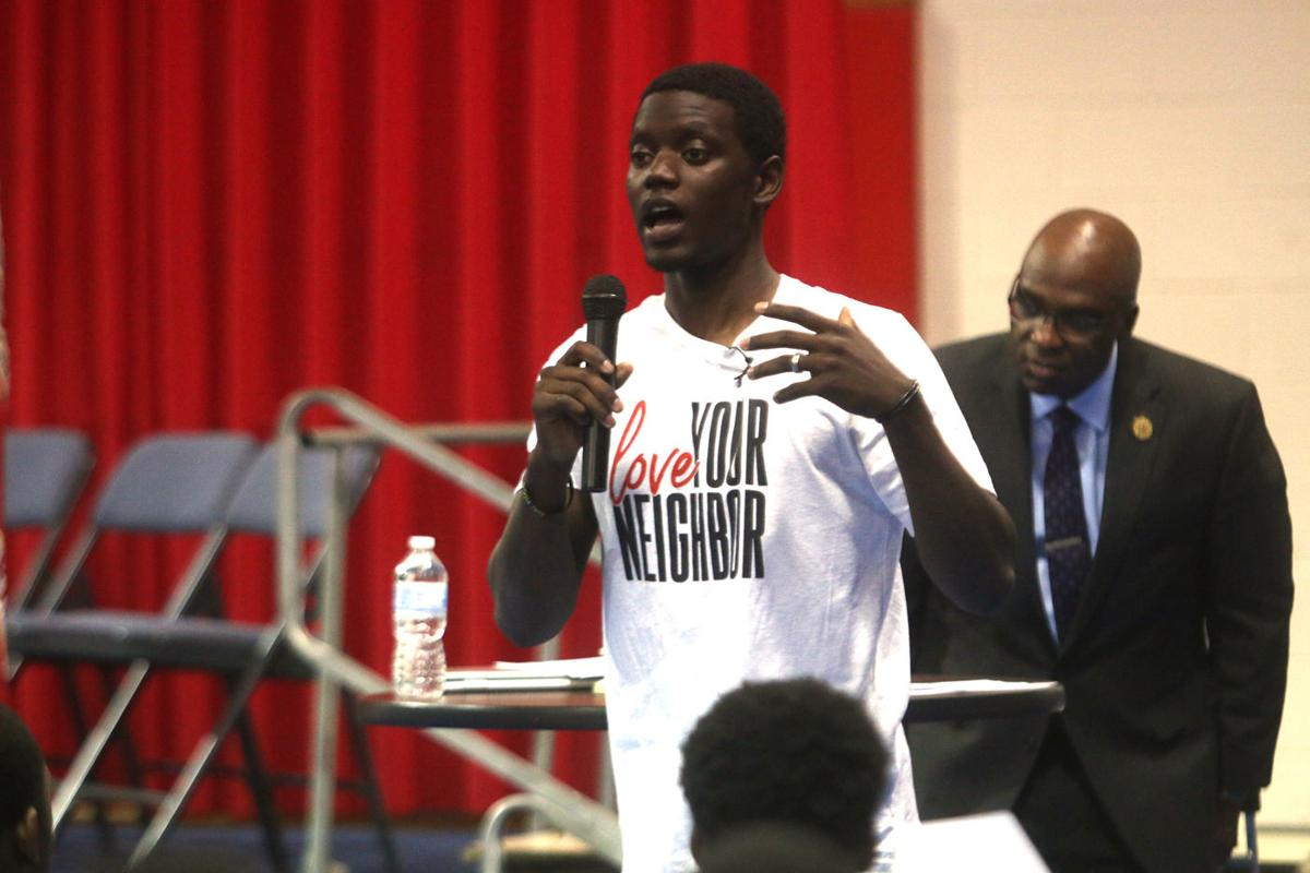 Chris Singleton, son of Emanuel AME shooting victim, speaks to Mullins High students about forgiveness