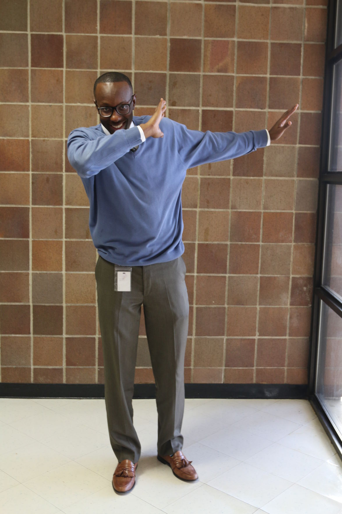 David Copeland shows off his dab as he prepares for Dancing for Our Future Stars.