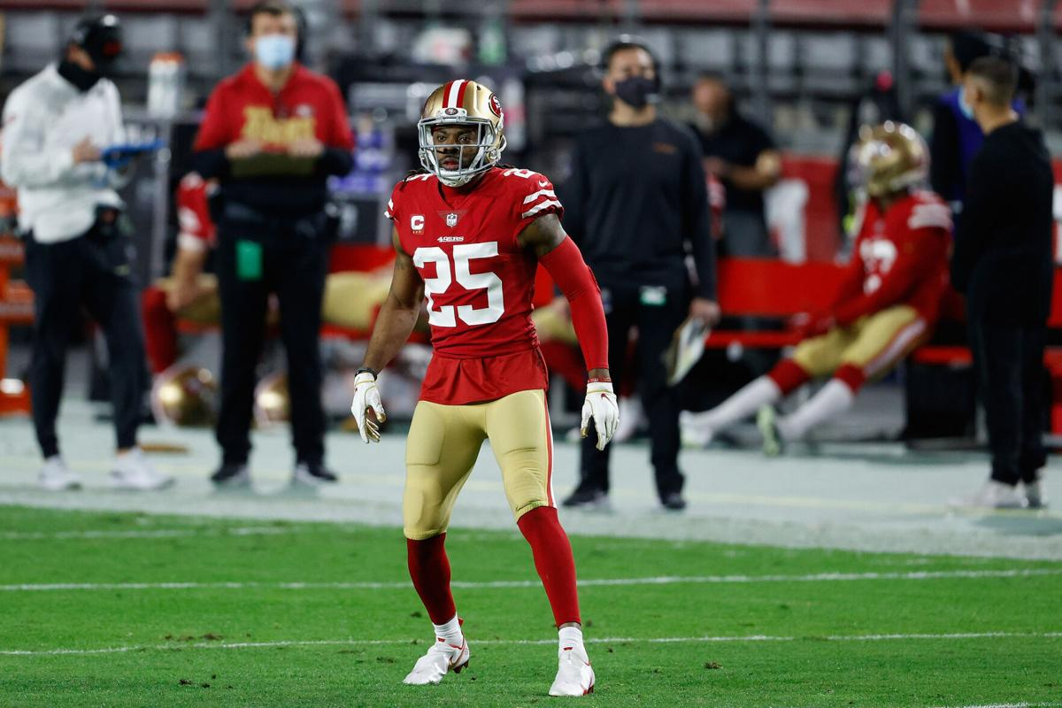 Cornerback Richard Sherman #25 of the San Francisco 49 ers during the NFL game against the Buffalo Bills at State Farm Stadium on December 07, 2020, in Glendale, Arizona.