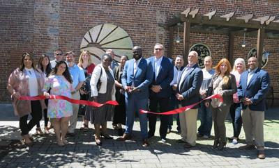 VBC LP chamber ribbon cutting held in the James Allen Plaza