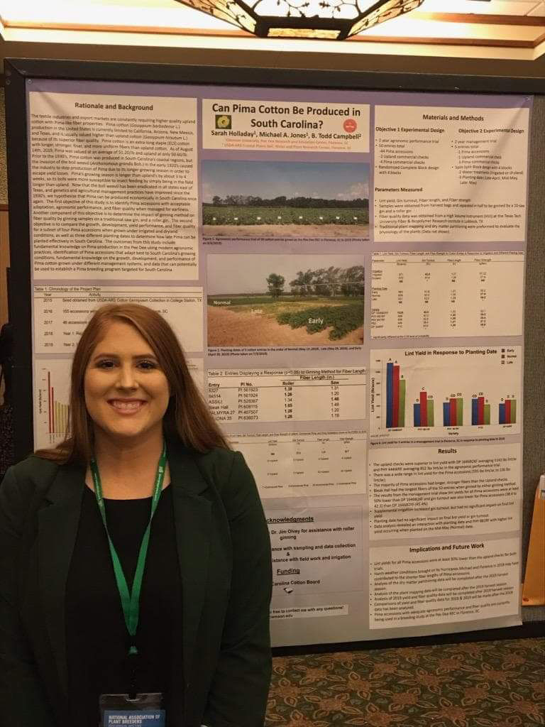 Clemson student from Florence studies extra-long staple cotton for production in SC