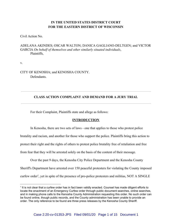 Read: Kenosha civil rights lawsuit alleging discriminatory treatment