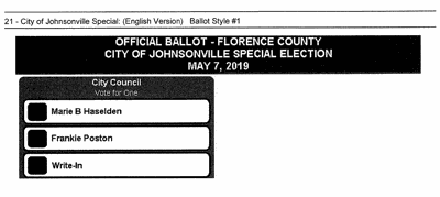 Special election to be held Tuesday for Johnsonville council seat