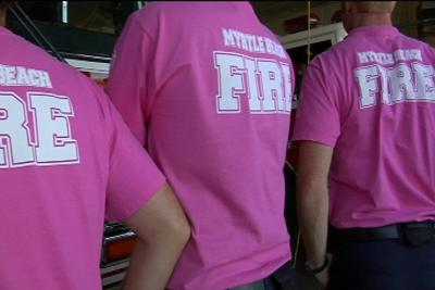 Myrtle Beach Firefighters Trade Wearing Pink T Shirts Living