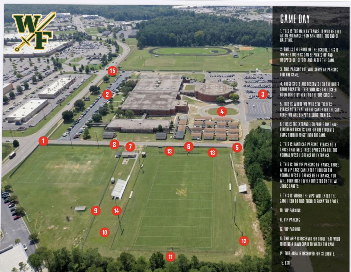Information map for fans at Friday's West Florence on-campus football game
