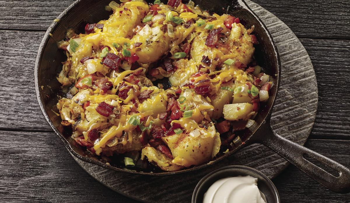 Grilled and Loaded Smashed Potatoes