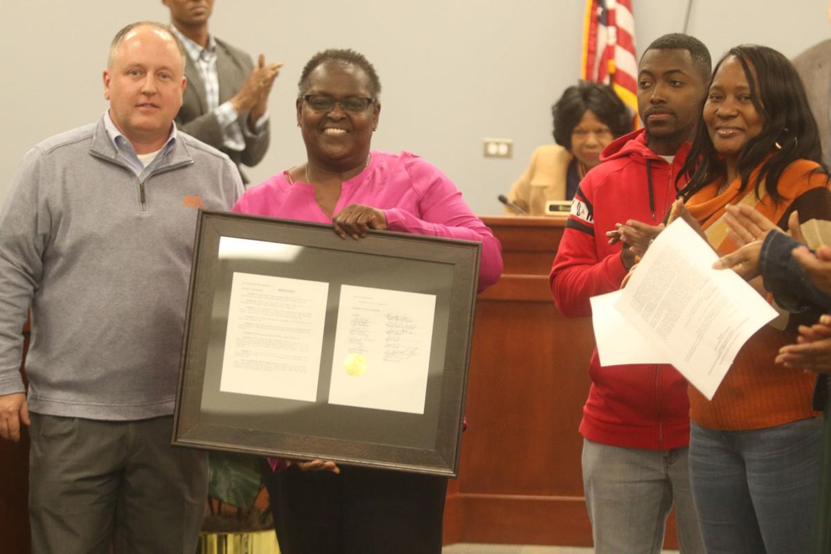 Marion County Council present resolutions of appreciation to community leaders