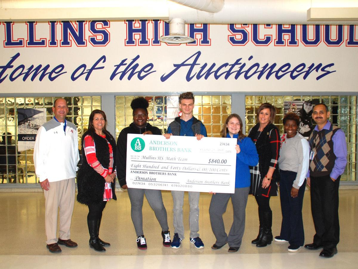 Anderson Brothers Bank donates to Mullins High Math Team