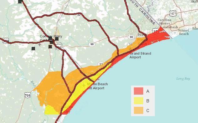 New hurricane evacuation zones include new myrtle beach new hurricane evacuation zones include new myrtle beach neighborhoods sciox Choice Image