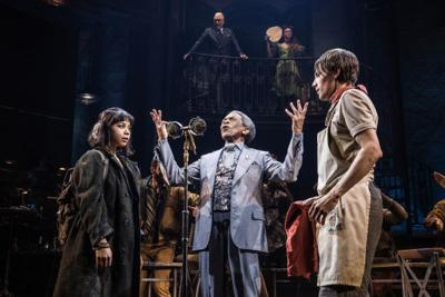 """Eva Noblezada, Andre De Shields and Reeve Carney in """"Hadestown"""" on Broadway at the Walter Kerr Theatre."""