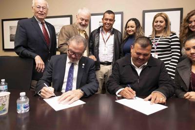 Scottsdale City Hall, Scottsdale Mayor Jim Lane and Alamos Mayor Victor Balderrama