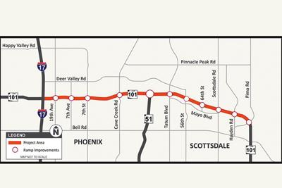 Loop 101 Pima Freeway in northern Phoenix and northern Scottsdale