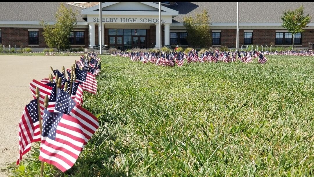 Flags at Shelby High School