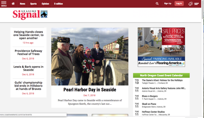 The new Seaside Signal web page
