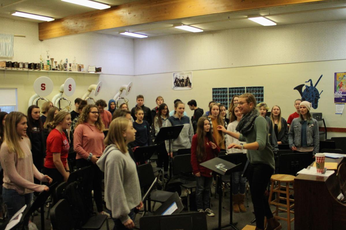 High school choir sings