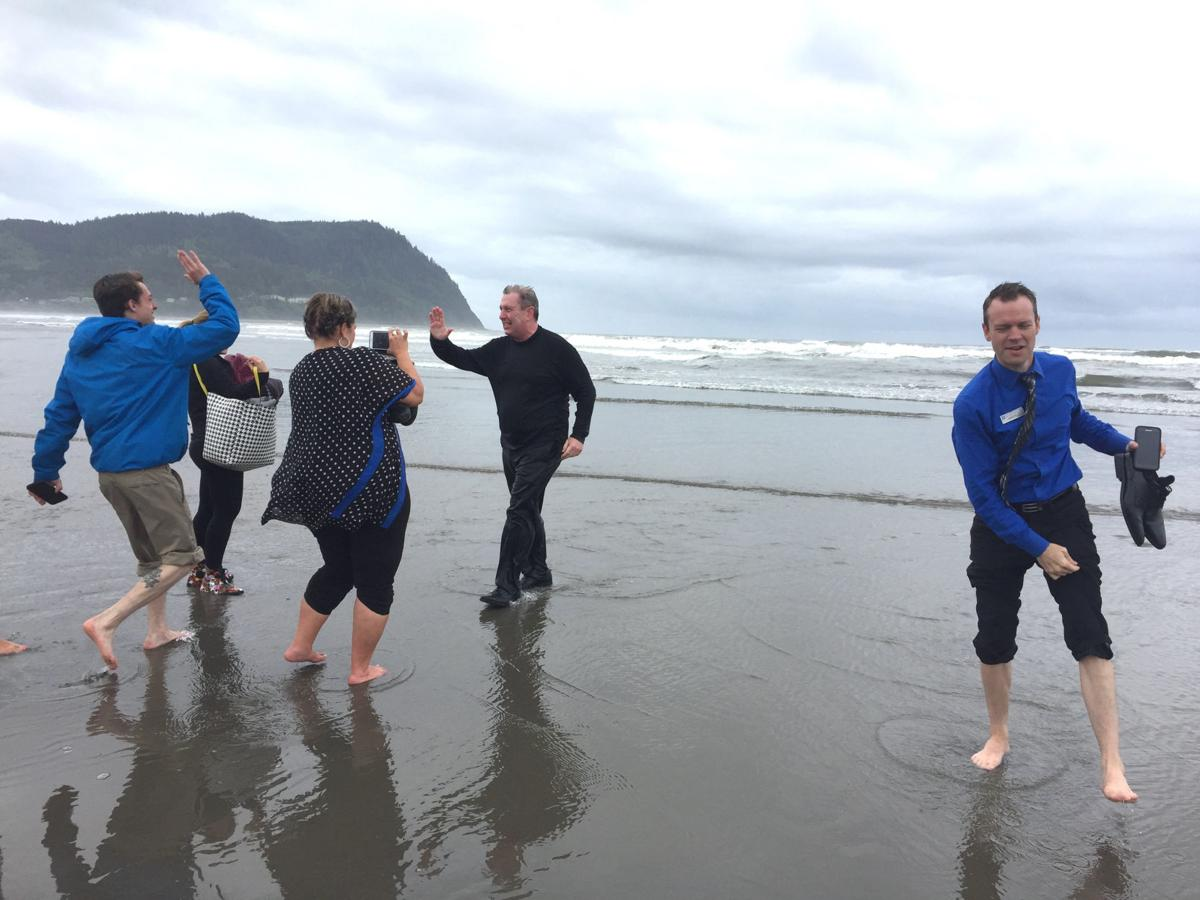 Wyndham exec celebrates with a dip in the ocean
