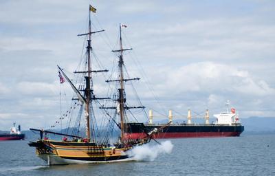 Lady Washington, Hawaiian Chieftain tall ships in Ilwaco June 2-6