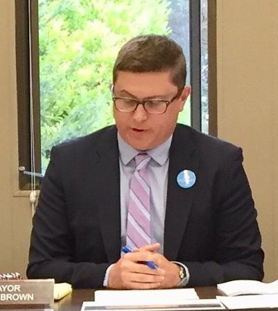 Mayor Matt Brown reads statement