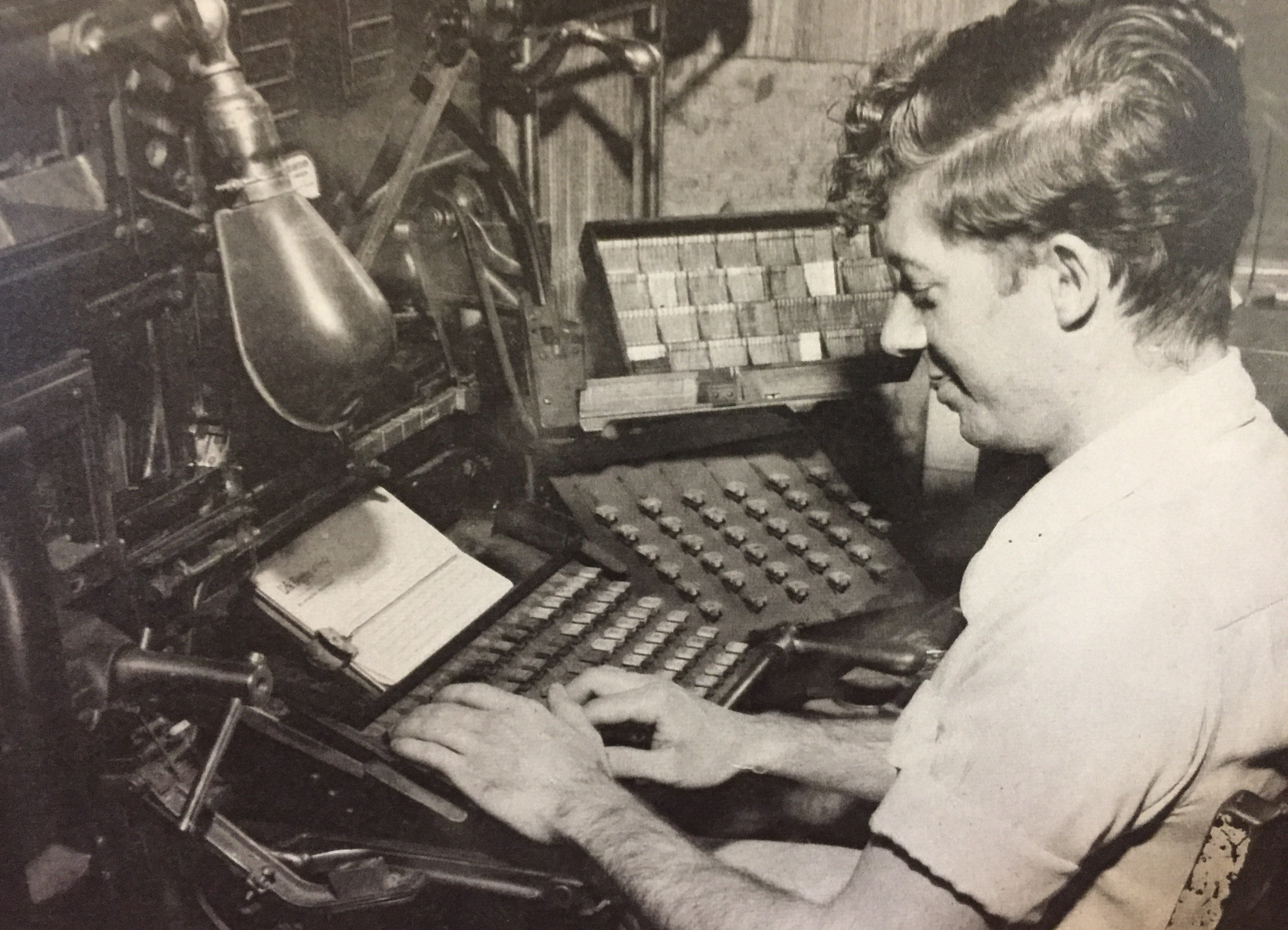 An undated photo of a linotype operator.
