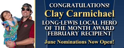 Long Lewis hero for May Clay Carmichael
