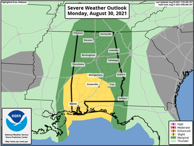 Aug. 30 severe weather map