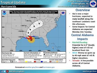 Hurricane Ida storm map
