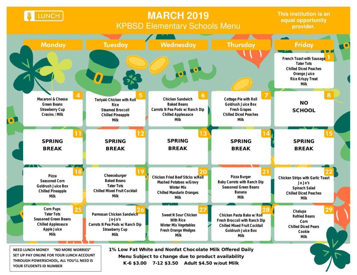 SES Lunch Menu March