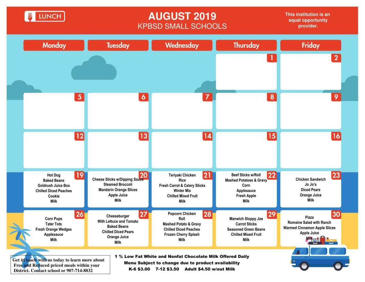 Moose Pass School Lunch Menu Aug. 2019