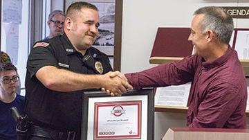 Morgan Woodard receiving Heartsaver Award