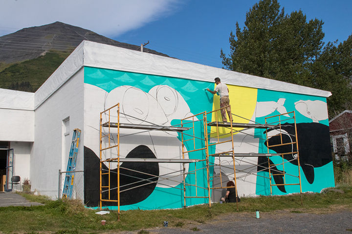 Mural Being Painted on Temple Studios