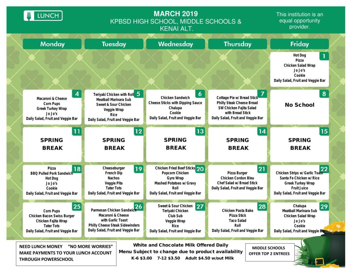 SHS Lunch Menu March