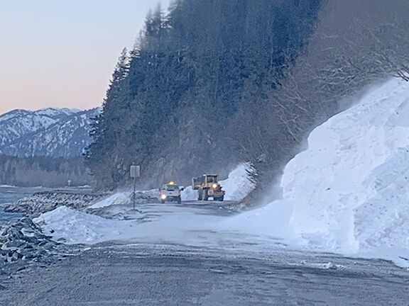 Lowell Point Road avalanche clearing