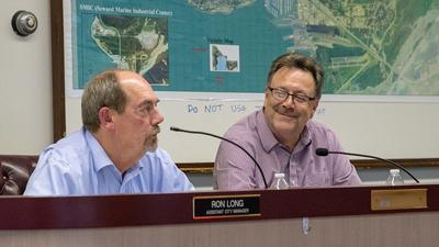 Jim Hunt and Ron Long at 7/23 council meeting
