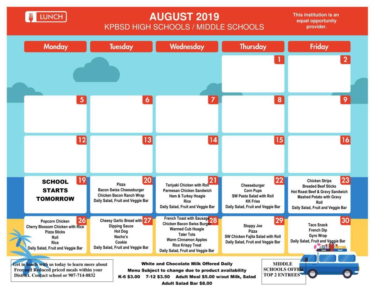 SHS Lunch Menu Aug. 2019