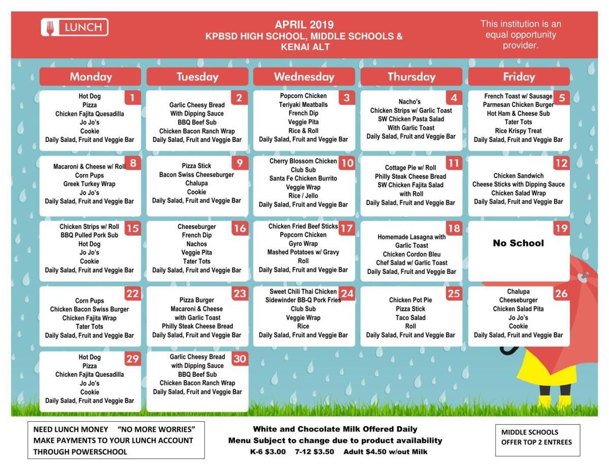 SHS Lunch Menu April