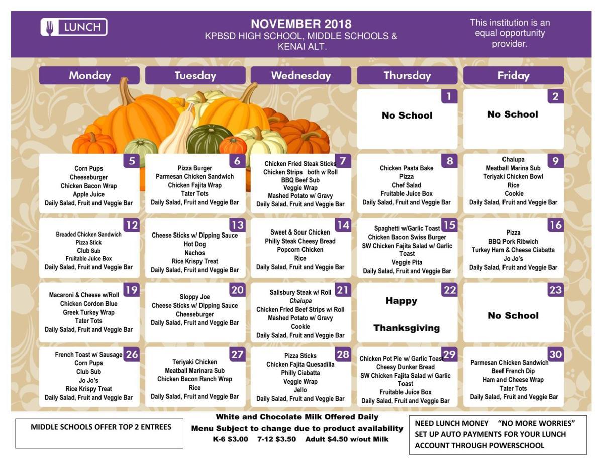 SMS Lunch Menu November
